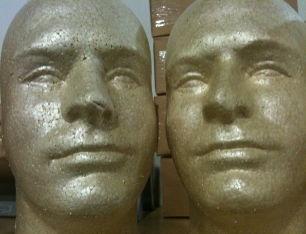 Mix Lot 8 Styrofoam Foam Mannequin Heads Male Display Halloween Props