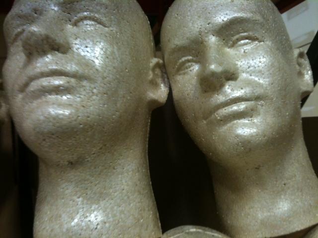 Lot 8 Styrofoam Foam Mannequin Heads Male Head Display Halloween Props