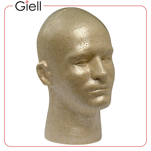 Giell Styrofoam Foam Mannequin Wig Head Display Male   Tan Color